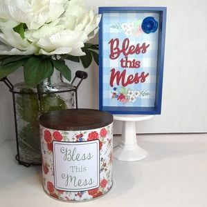 The Pioneer Woman Bless this Mess tin and sign